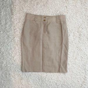 Banana Republic Tan Linen Midi Suit Skirt Size 6